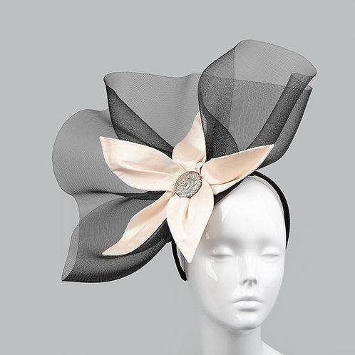 Women's black crin & nude silk headpiece - Juno