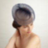 Navy and sand cocktail hat by milliner judy bentinck London.png