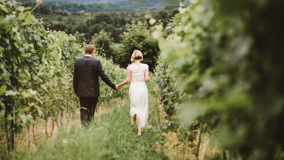 Elopement im Weingarten, Hochzeit Weingut Trippelgut Kärnten