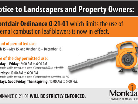 Gas-powered leaf blowers, not permitted starting May 16 (until Oct 15)