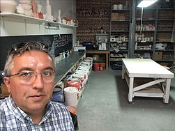 Didier Touchet Sculptor in Glaze room of Morean Center for Clay in St Petersburg Florida
