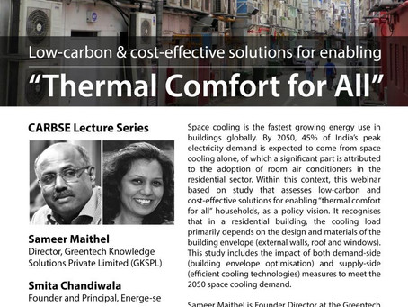 "Webinar on Low- carbon & cost-effective solutions for enabling ""Thermal Comfort for All"""