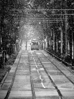 Linienbus im Schnee