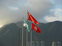 3 Fahnen in Hong Kong