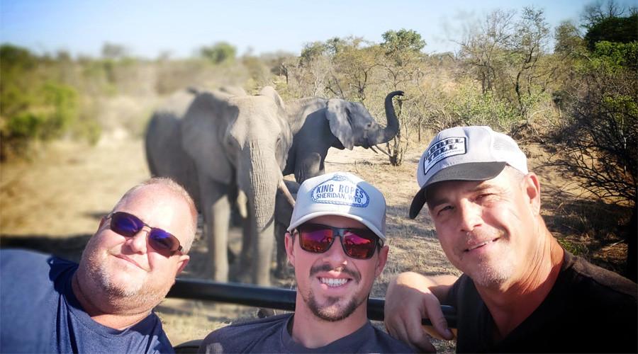 The Larson boys on an African Safari game drive
