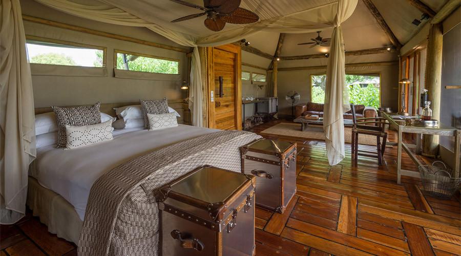 Bedroom view of Mombo Camp in Botswana