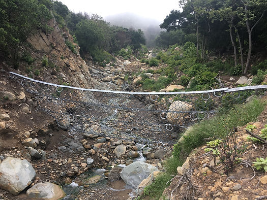 Debris flow net in San Ysidro canyon