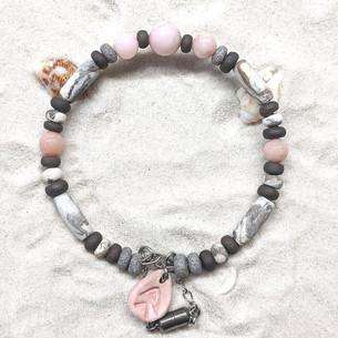Bracelet Céramique Opales Roses