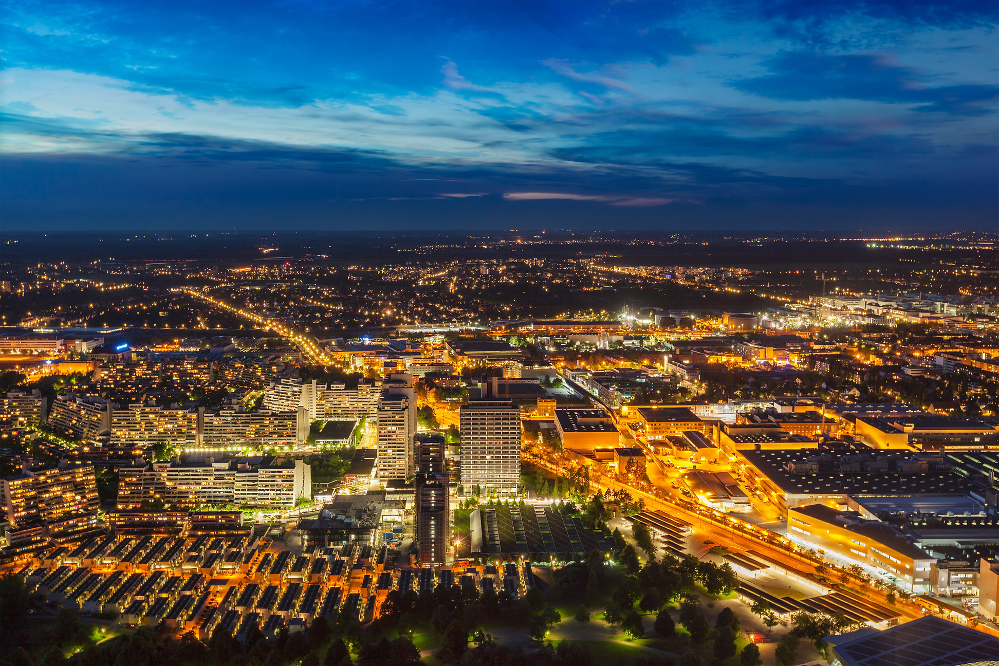 Night aerial view of Munich from Olympia