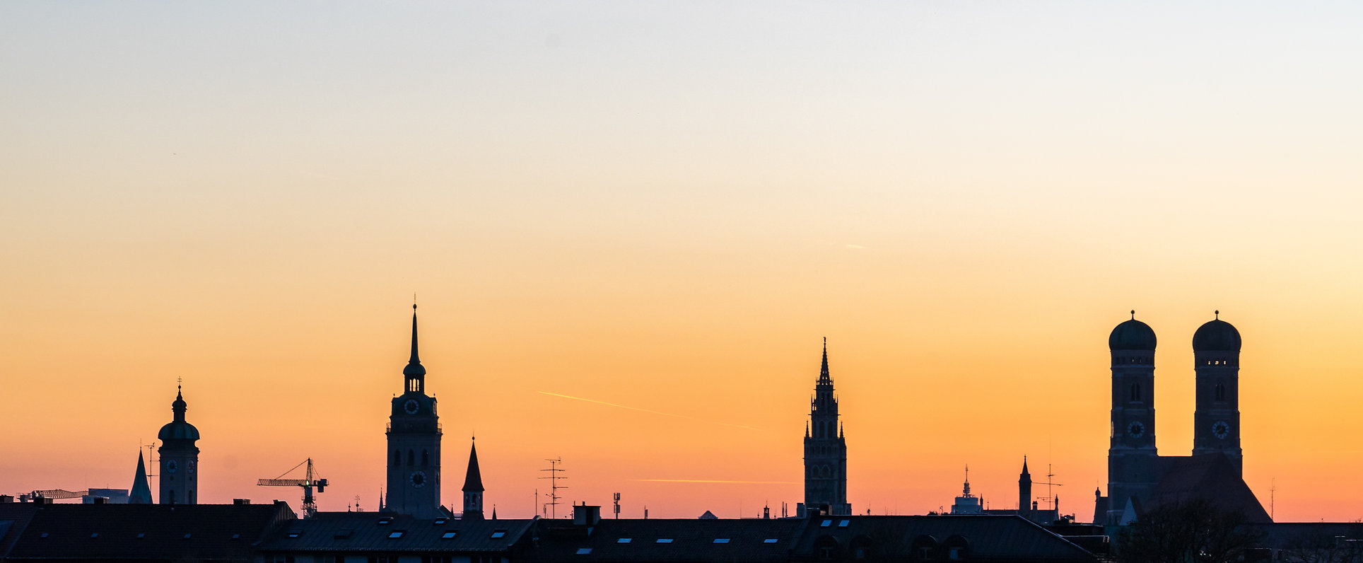 Munich Silhouette during sunset in Summe