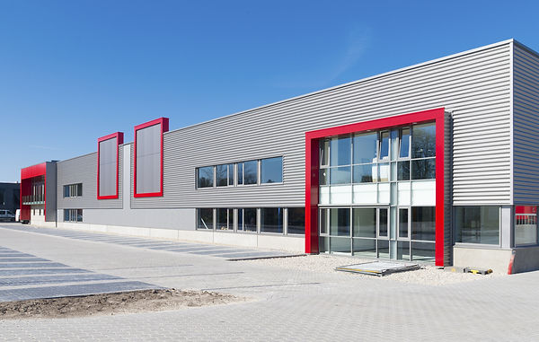 newly build modern red office building w