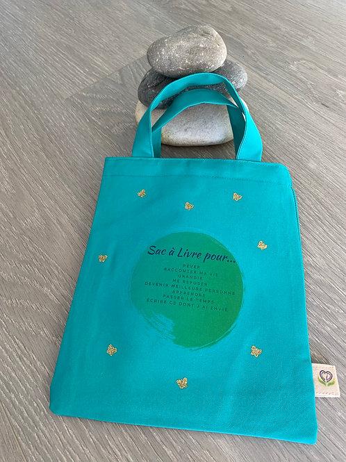 Pochette pour livre - Turquoise avec texte