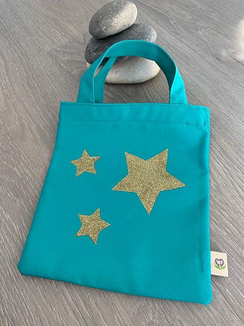 Pochette pour livre - Turquoise étoiles