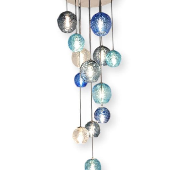 spun glass cascading chandelier