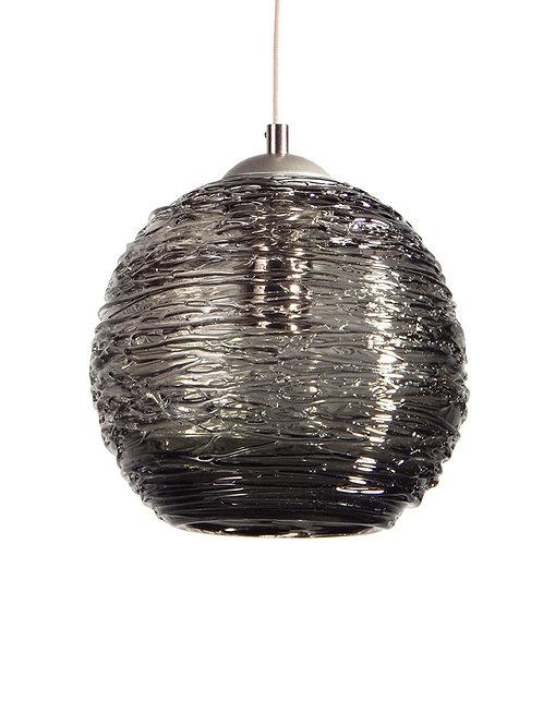 Smoke Gray Spun Glass Globe Pendant Light