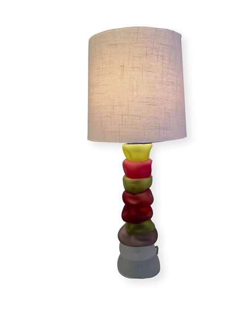 Sunset River Rock Stacked Sculptural Table Lamp in Warm Tones