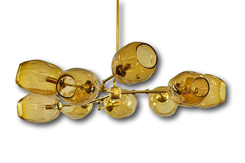 Gold Radial River Rock Globe Glass Chandelier