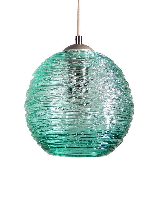 Teal Spun Glass Globe Pendant Light