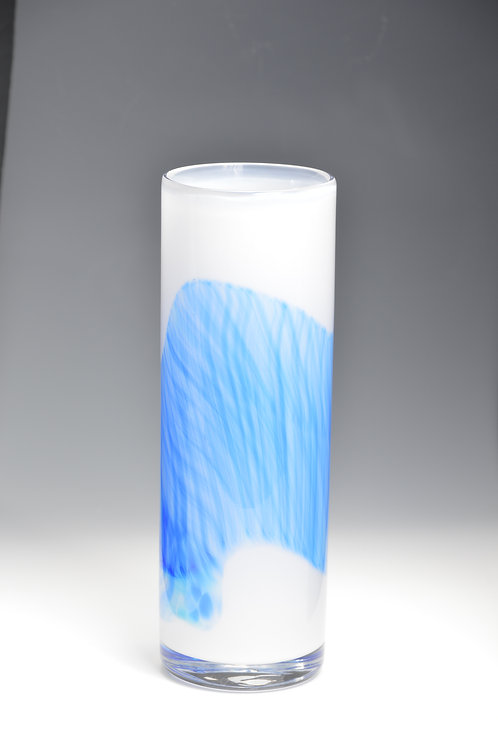 Blue Band Watercolor Hand Blown Vessel