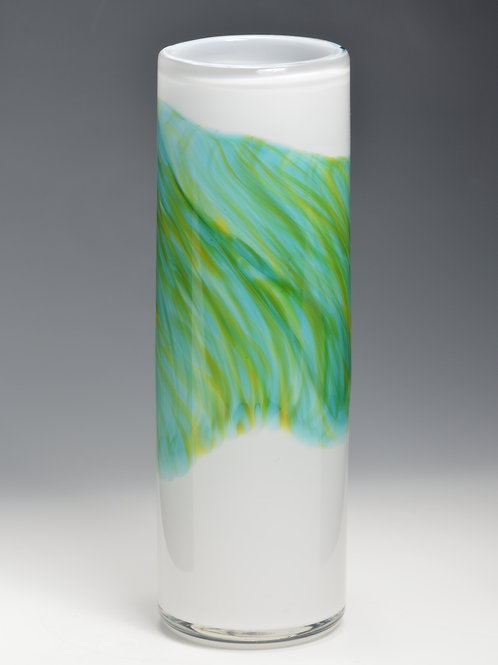 Green Band Watercolor Hand Blown Vessel