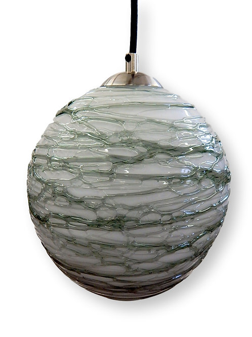 Gray Opal  Spun Glass Globe Pendant Light