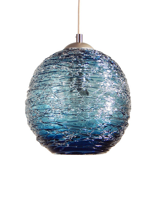 Steel Blue Spun Glass Globe Pendant Light