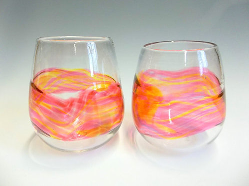 Sunset Band Stemless Wine Glass
