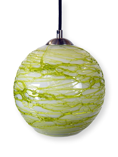 Opal Lime Spun Glass Globe Pendant Light