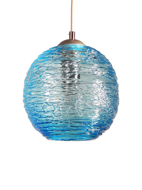 Aqua Spun Globe Glass Cocoon  Pendant