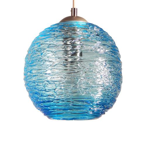 Spun glass pendant lights providence art glass and lighting aqua spun glass globe pendant light mozeypictures Gallery