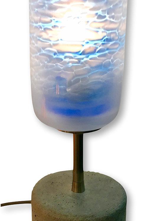 Blue Shadow Spung Glass Shade Mixed Media Table Lamp
