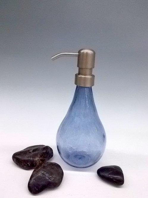 Hand Blown Steel Blue Glass Soap Dispenser