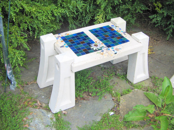small blue tile bench