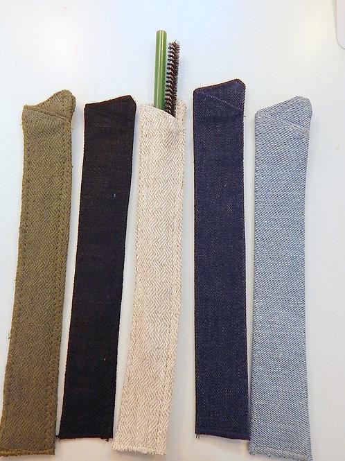 Reclaimed hemp/denim handmade Straw Sleeves for any Sustainable Drinking Str
