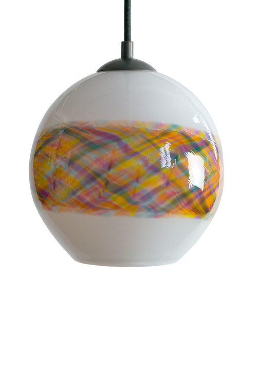 Gingham Sunset Band on White Blown Glass Pendant Lights