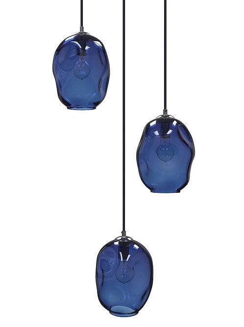 Dark Blue River Rock Glass Cluster Pendant Chandelier