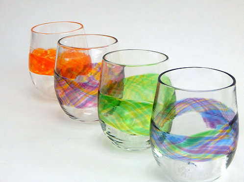 Artist's Mix~ Banded Stemless Wine Glasses
