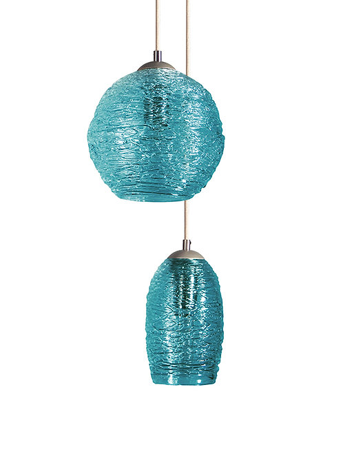 Teal Spun Globe Glass Cocoon  Pendant