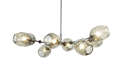 Smoke Gray River Rock Glass Chandelier