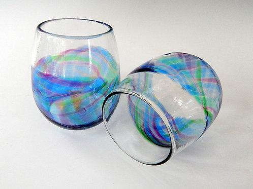Deep Sea Rainbow Band Stemless Wine Glass