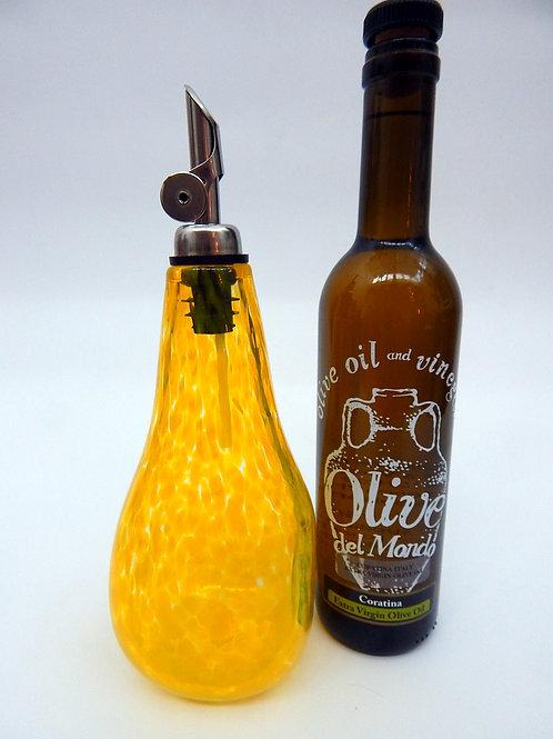 Yellow Daffodil Hand Blown Art Glass Olive Oil and Vinegar Cruet