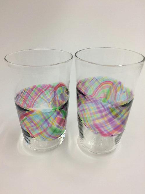 Hand Blown Pint Glass Banded Tumblers, Bar