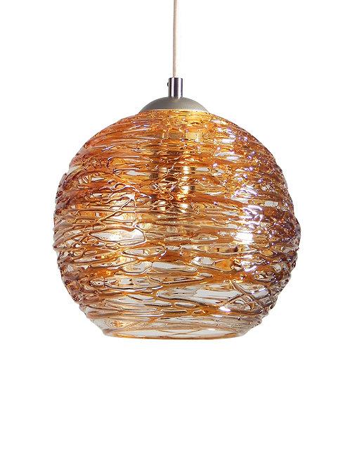 Honey Gold Spun Globe Glass Cocoon Pendant