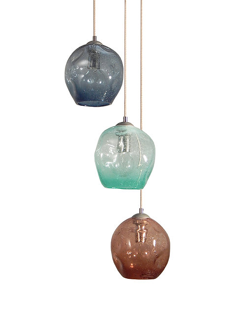 Seeded Glass Dimpled Cluster Pendant Chandelier