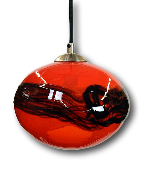 Abu Opal Red with Black Band Blown Glass Globe Pendant Lights