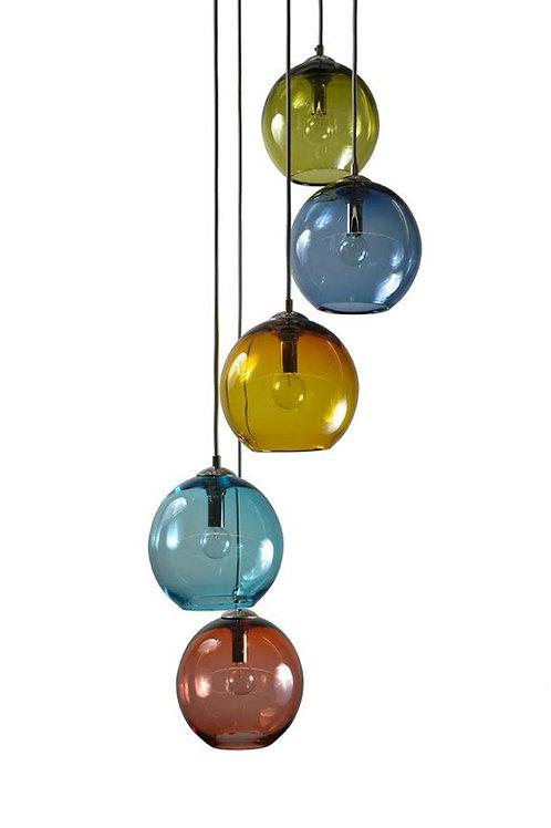 5 Port Gumball Blown Glass Cluster Pendant Light