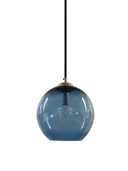 Steel Blue Hand Blown Glass Gumball Globe Pendant Light