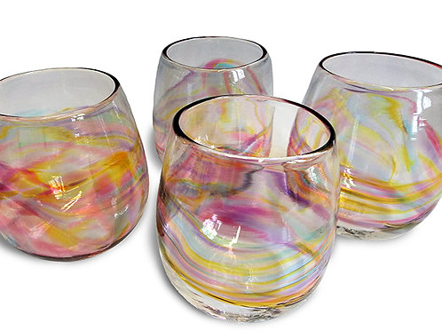 Rainbow Band Stemless Wine Glass