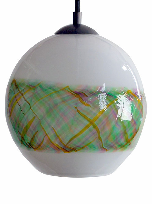 Opal Milky White  with Forest Band Blown Glass Globe Pendant Lights