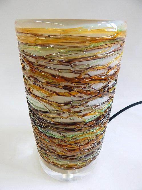 Tri-Color Autumn Mix Spun Glass Table Lamp